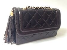Vintage Chanel Brown Lizard Bag W Tassel