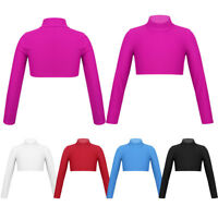 Kid Girl Turtleneck Crop Top Ballet Gymnastic Long Sleeve Shirt Blouse Dancewear
