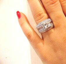 3.00ct Princess Cut Solid 14K White Gold Man Made DIAMOND Engagement Ring size 5