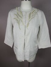 Coldwater Creek T193 Size P12 Women's Tan Round Neck 3/4 Sleeve 55% Linen Blazer