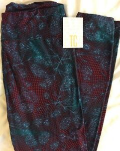 Lularoe TC Tall Curvy Leggings Green Purple Floral Polka Dots Unicorn Pants New