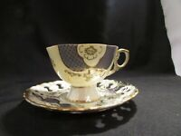 Vintage   Footed Tea Cup And Saucer Blue Gray And Cream Lusterware  Mint
