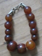 ANTIQUE Catalin Bakelite  Cognac Honey Bracelet Vintage 52gr Bead Brawn Old