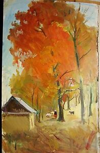 Russian Ukrainian Soviet Oil Painting Landscape hut tree autumn impressionism