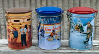 "Vintage First 3 in the Set VINTAGE 6.5"" Metal Canister TIM HORTONS COFFEE Hockey"