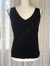 fc02047596f79 Brooks Brothers Womens Black Wool Beaded V-Neck Sweater Top