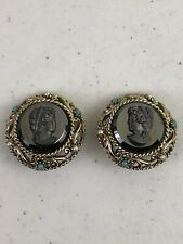 Vintage Black Cameo Gold Tone Clip On Earrings Signed Art