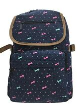 RUCKSACK NAVY WITH BOWS TOP QUALITY COTTON PADDED OUT POCKETS ZIPPED