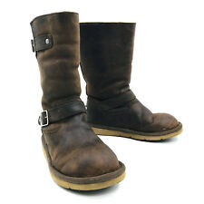 Ugg Australia Kensington Buckle Moto Boots Brown Leather Womens Size 7