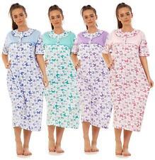 Women Nightwear 100% Cotton Floral Butterfly Short Sleeve Long Nightdress L-3XL