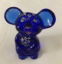 FENTON Art Glass Hand-Painted Cobalt Blue Mouse for NFGS 2002