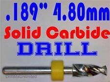 ".189"" 4.80mm  -Solid Carbide Drill Bit - 1/8"" Shank -Sharp! CNC Hobby Model -lu"