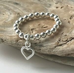 Sterling Silver Stretch Beaded Ring Heart Charm, Toe or Thumb Ring, Custom Sizes