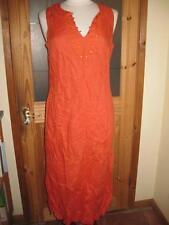 Linen V-Neck Dresses Patternless Midi