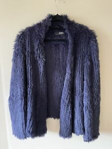 Nicholas Real Rabit Fur Navy Blue Jacket - Size L