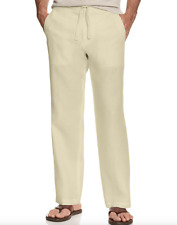 New Tasso Elba Men's Island 100% Linen Drawstring Pants Natural Size 36x30