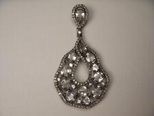 Precioso Antiguo 14K Oro Blanco Topacio Diamante Gota Collar con Colgante