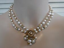 Vintage Miriam Haskell Baroque Pearl Pendant Choker Necklace