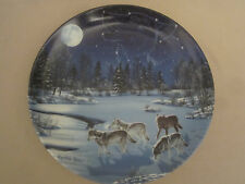 Wolf Collector Plate Midnight Track Cynthie Fisher Sentinels Of The Sky Wolves