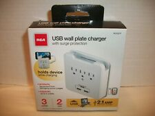 RCA USB Wall Plate Charger New in Box Surge Protection 3 Outlet 2 USB WLDG21F