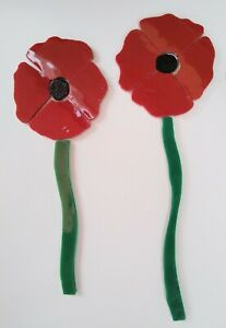 PRECUT Stained Glass Poppies w/stems Mosaic Inlay Tiles by Heather MBC Designs