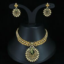 Indian Gold Plated Matt Finish Necklace Set CZ Women Bridal Jewelry Bollywood
