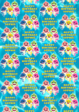 BABY SHARK Personalised Gift Wrap - Pink Fong Baby Shark Wrapping Paper