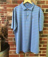 Peter Millar Mens Polo Shirt Blue Stripe Summer Comfort Short Sleeve Size XL