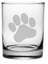Paw Print Double Old Fashioned Glasses Set of 4 Dog or Cat Lovers Cocktail Gift