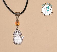 Wachsschnur-Halskette mit Anhänger Katze Kätzchen