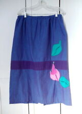 Mexican Artist Irene Pulos Cotton Embroidered Skirt Sz L Purple Blue weave