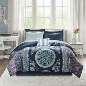 Navy Blue Boho Geo Medallion 9 pc Comforter Sheet Set Twin XL Full Queen Bed Bag