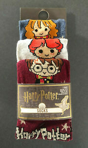 3 Paar Harry Potter Damen Socken Strümpfe Chibi Bunt Sterne Gold 37-42 Primark