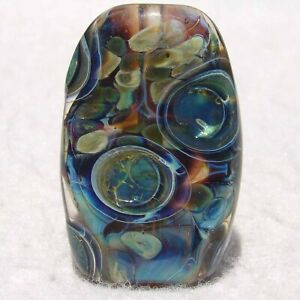 OBSERVER Handmade Art Glass Focal Bead Flaming Fools Lampwork Art Glass SRA
