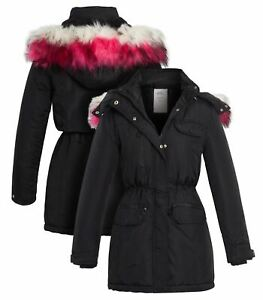 Girls Padded Parka Coat Ages 14 5 7 8 10 11 12 13 Years Jacket Faux Fur Black