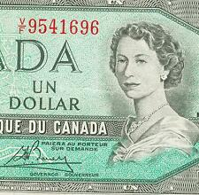 1954 Changeover Note Bank of Canada $1 Dollar Lawson and Bouey RARE prefix  V/F