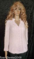 100% Angora Pullover handgestrickt  38/42 rosè edel NEU hand knitted