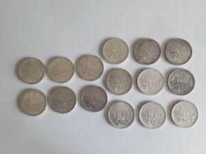 Beau lot 15 × 5 Francs Semeuse Argent