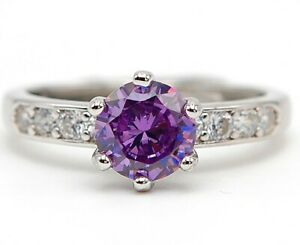 2CT Amethyst & Topaz 925 Solid Sterling Silver Ring Jewelry Sz 7