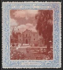 Vintage USA 1910 Poster Stamp: San Antonio, TX - The Alamo -dw65n