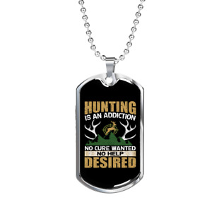 """Hunting Desired Necklace Stainless Steel or 18k Gold Dog Tag 24"""" Chain"""