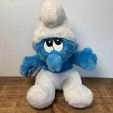 """Vintage Applause Smurfs Blue Smurf Character 11"""" Plush Stuffed Animal Toy"""