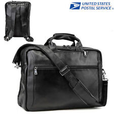 "17"" Laptop Leather Briefcase Men Backpack Messenger Shoulder Bag Portfolio Tote"