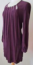 DIANE von FURSTENBERG Purple Tunic, Dress With Pockets & Gold Detailing - Size 8