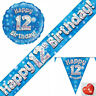12th Birthday Flag Bunting Banners Balloons Blue Party Decorations Age 12 Boys