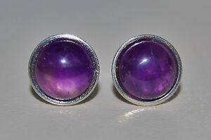 Sterling Silver 8mm Amethyst Cabochon Gemstone Bezel set Ear Studs Purple 925.