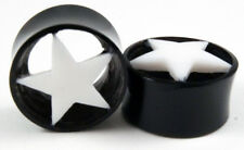 "Pair Handmade Natural Horn Flesh Tunnel Ear Gauge Plugs White Star Inlay 2G-1"""
