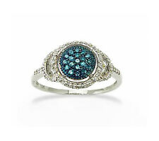 Blue & White Diamond Ring 10K White Gold  Round Diamond Cluster Band .25ct