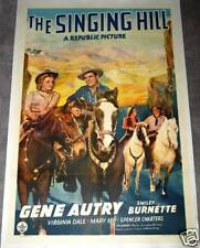 SINGING HILL '41 RARE NEAR MINT GENE AUTRY ONE SHEET!