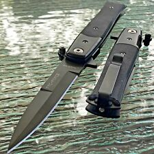 TAC FORCE SPRING ASSISTED STILETTO TACTICAL BLACK FOLDING G-10 HANDLE KNIFE 9""